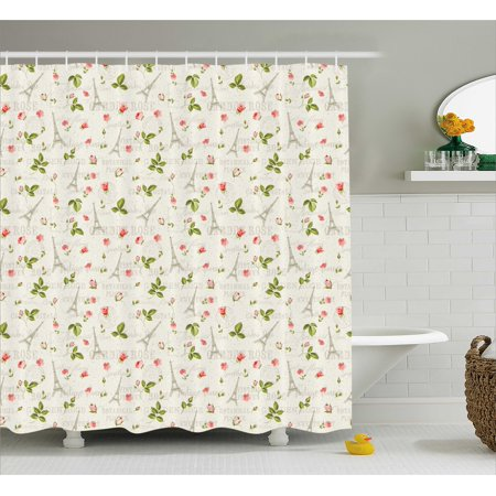 Spring Shower Curtain Happy Positive Summer Season Paris French Themed Flowers Leaves Art Fabric
