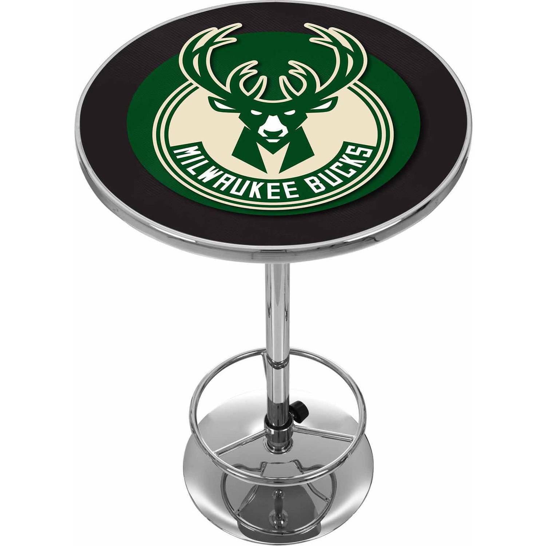 "Trademark NBA Milwaukee Bucks 42"" Pub Table, Chrome"