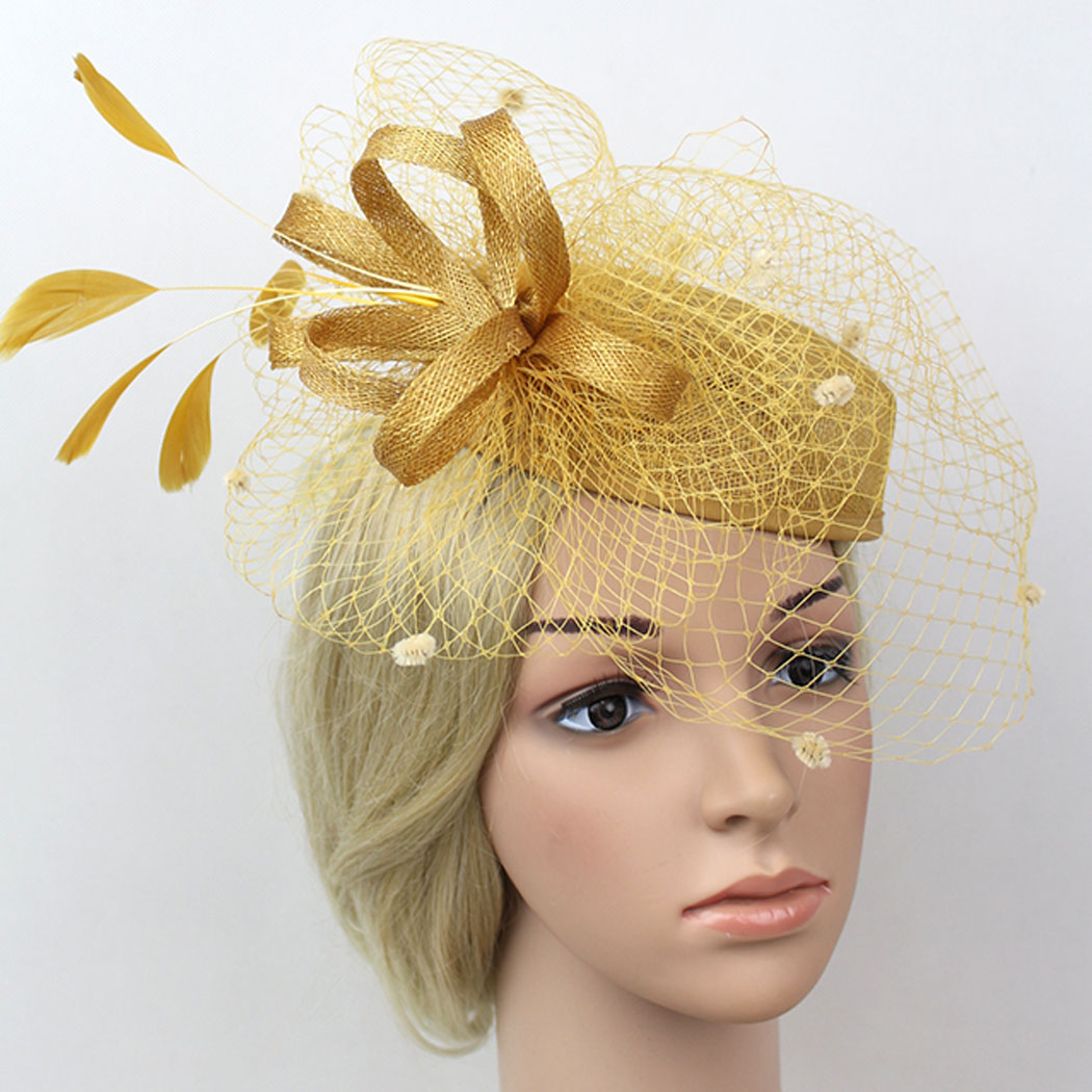 Unique Birdcage Veil Flower Pillbox Hat Head Pieces For Wedding (Golden) by Coxeer