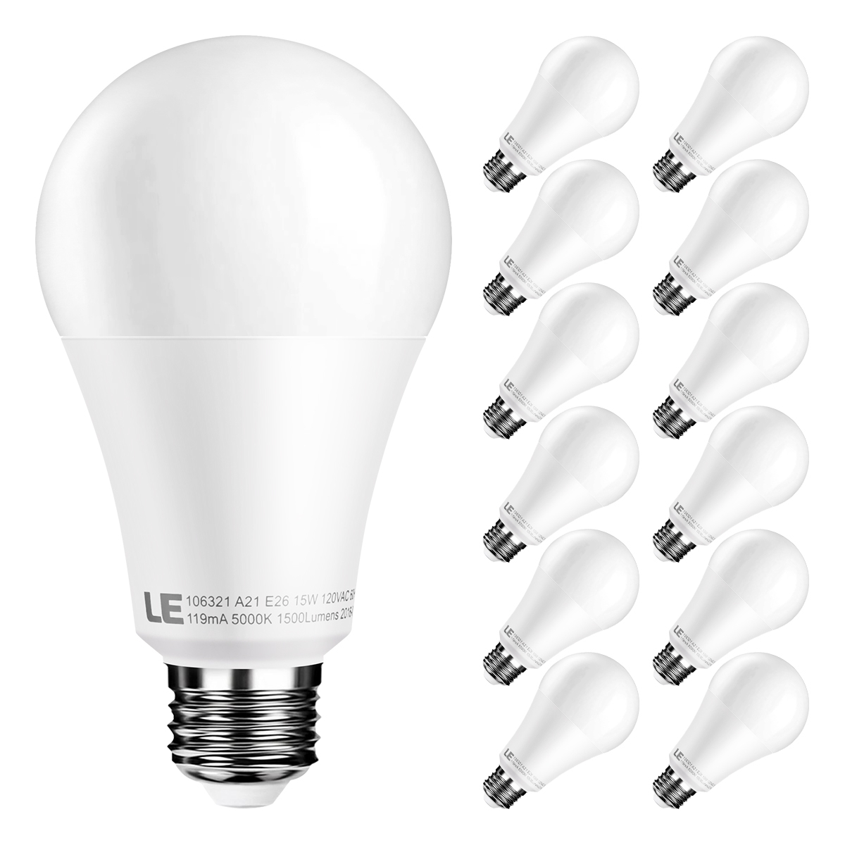 Lighting EVER A21 E26 15W Daylight White Dimmable LED Light Bulb, 100W Incandescent Bulbs Equiv, Pack of 12 Units