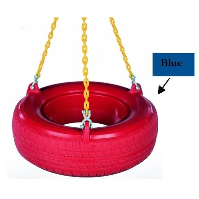Child Works PT-05 Chained Plastic Tire Swing- Blue Tire