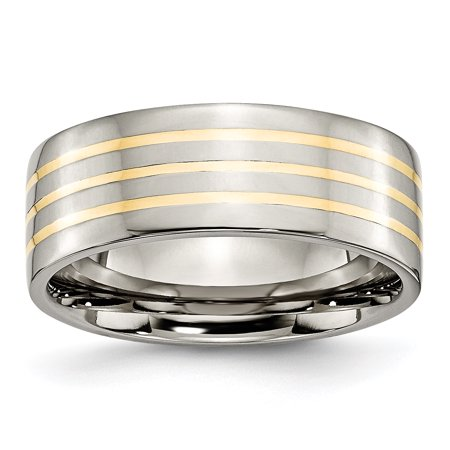 Bridal & Wedding Party Jewelry Titanium 14k Yellow Inlay Flat 8mm Wedding Ring Band Size 8.50 Precious Metal 100% High Quality Materials
