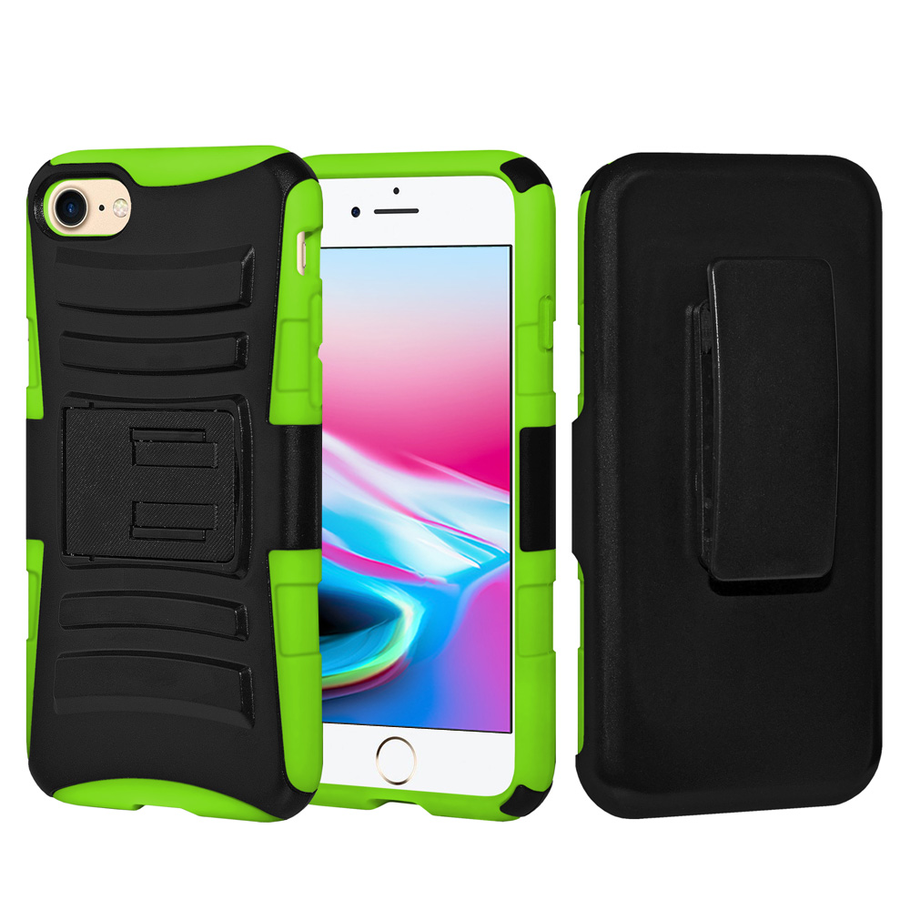 iPhone 8 Case, Rugged TUFF Hybrid Armor Hard Defender Rotating Clip Holster Cover with Stand for iPhone 8 -Black/ Neon Green