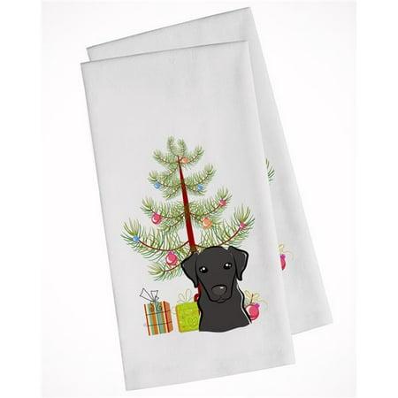 Carolines Treasures BB1607WTKT Christmas Tree & Black Labrador White Kitchen Towel - Set of 2 - image 1 de 1