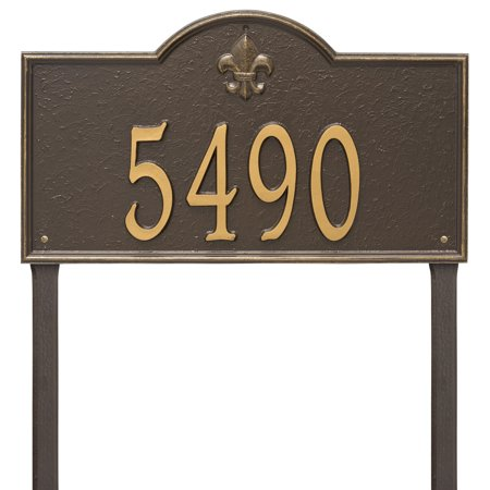 Personalized Whitehall Products Bayou Vista Estate Lawn House Numbers Plaque In Bronze Gold
