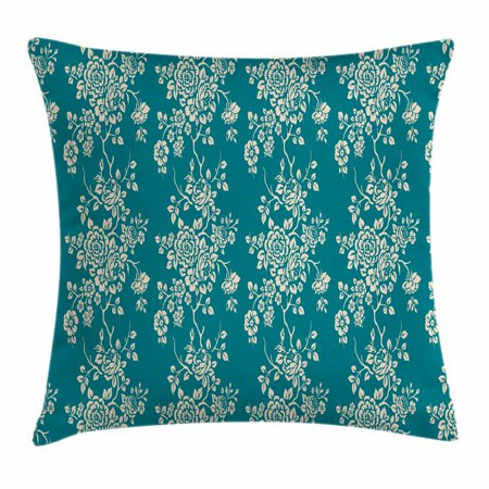 Blossoming Bouquet (Leaf Throw Pillow Cushion Cover, Romantic Roses on Blossoming Branches in Abstract Style Old Fashioned Bouquet Art, Decorative Square Accent Pillow Case, 18 X 18 Inches, Teal Beige, by)