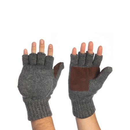 John Bartlett Statements 3M Thinsulate Knit Fingerless Gloves Convertible Top Wool Flip Gloves With Mitten Cover For Men Women Winter Recycled Wool Mittens