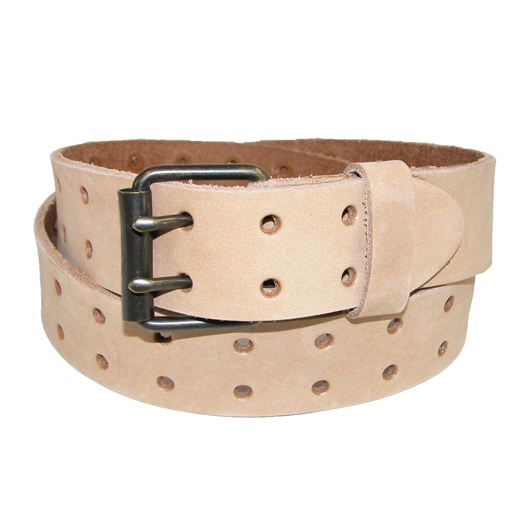 Dickies Size 38 Mens Leather Two Hole Raw Edge Bridle Belt, Tan