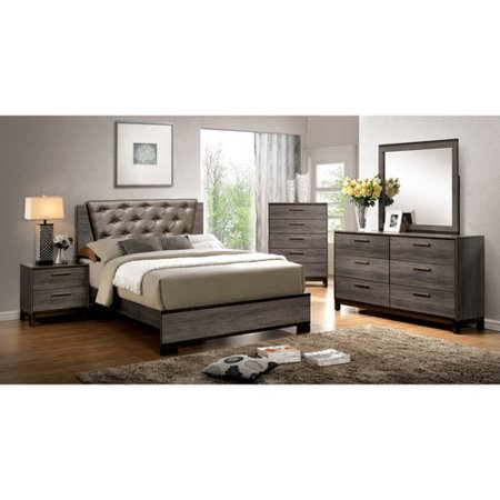 Furniture of America Althea 4-Piece Gray Bedroom Set, Multiple Sizes