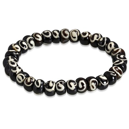 Bracelet Carved Horn (Organic Natural Tribal Horn Bone Two-Tone Beads Stretch)