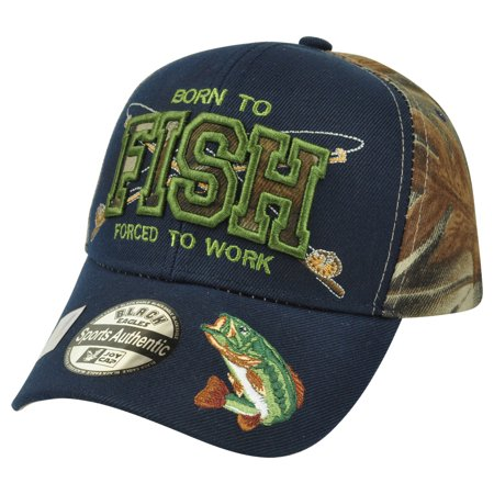 Born to fish bass fishing outdoors two tone camouflage for Fishing hats walmart
