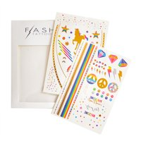 Flash Tattoos Forever Rainbow colorful rainbow metallic temporary jewelry tattoo pack, 2 sheets, over 40 metallic temporary festival tats