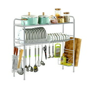 Silver Dish Drying Rack Over the Sink Dish Rack Stainless Steel Storage Drainer Shelf Kitchen Cutlery Space Saving Easy Install