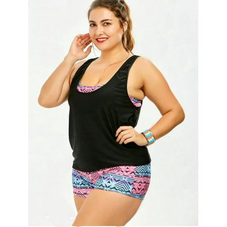 52fd3ffe48c SENFLOCO - Senfloco 3/Pcs Set Plus Size Tankini Swimwear Bathing Suit  Strappy Padded Swimming Suit, L-3XL - Walmart.com