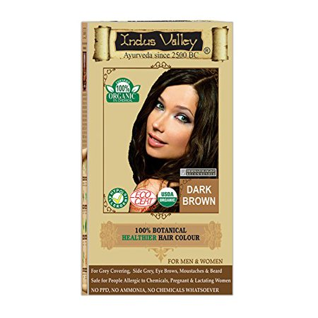 Indus Valley 100% Organic Botanical Dark Brown One Touch Pack Hair Color (Also suitable for pregnant women & Lactating Mothers) Dark Brown Hair Colour