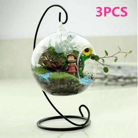 Hanging Glass Globe Plant Terrariums,3Pcs Glass Orbs Air Plants Tea Light Candle Holders Succulents Moss Miniature Garden Planters Home Decor Indoor Garden DIY Gifts