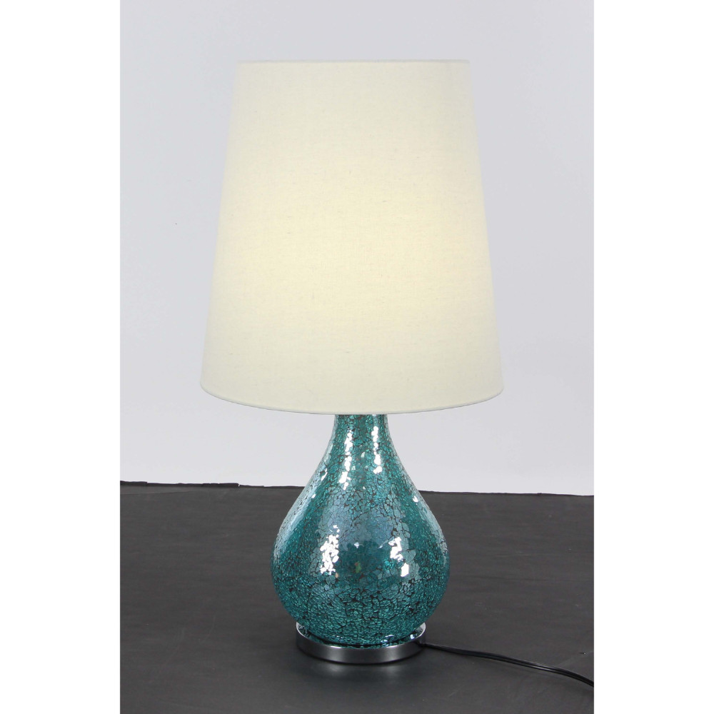 Decorous White And Turquoise Metal Mosaic Table Lamp