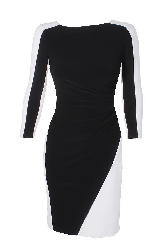 8a922247 Lauren Ralph Lauren Black White Color Blocked Three Quarter Sleeve Sheath  Dress