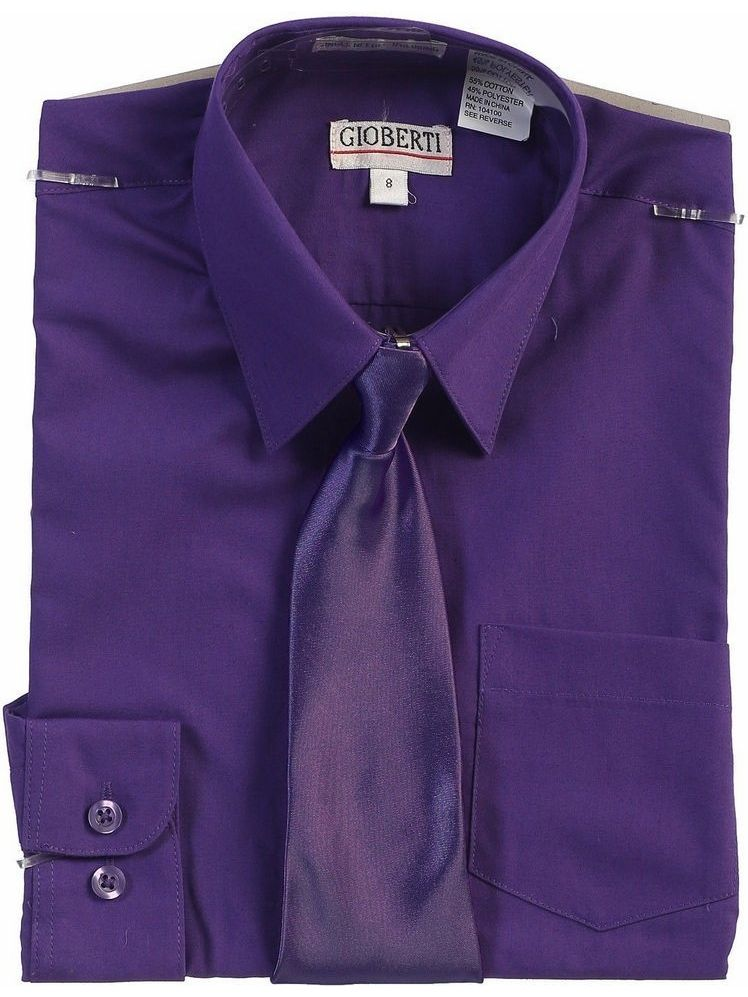 Gioberti Big Boys Dark Purple Solid Color Shirt Tie Formal 2 Piece Set
