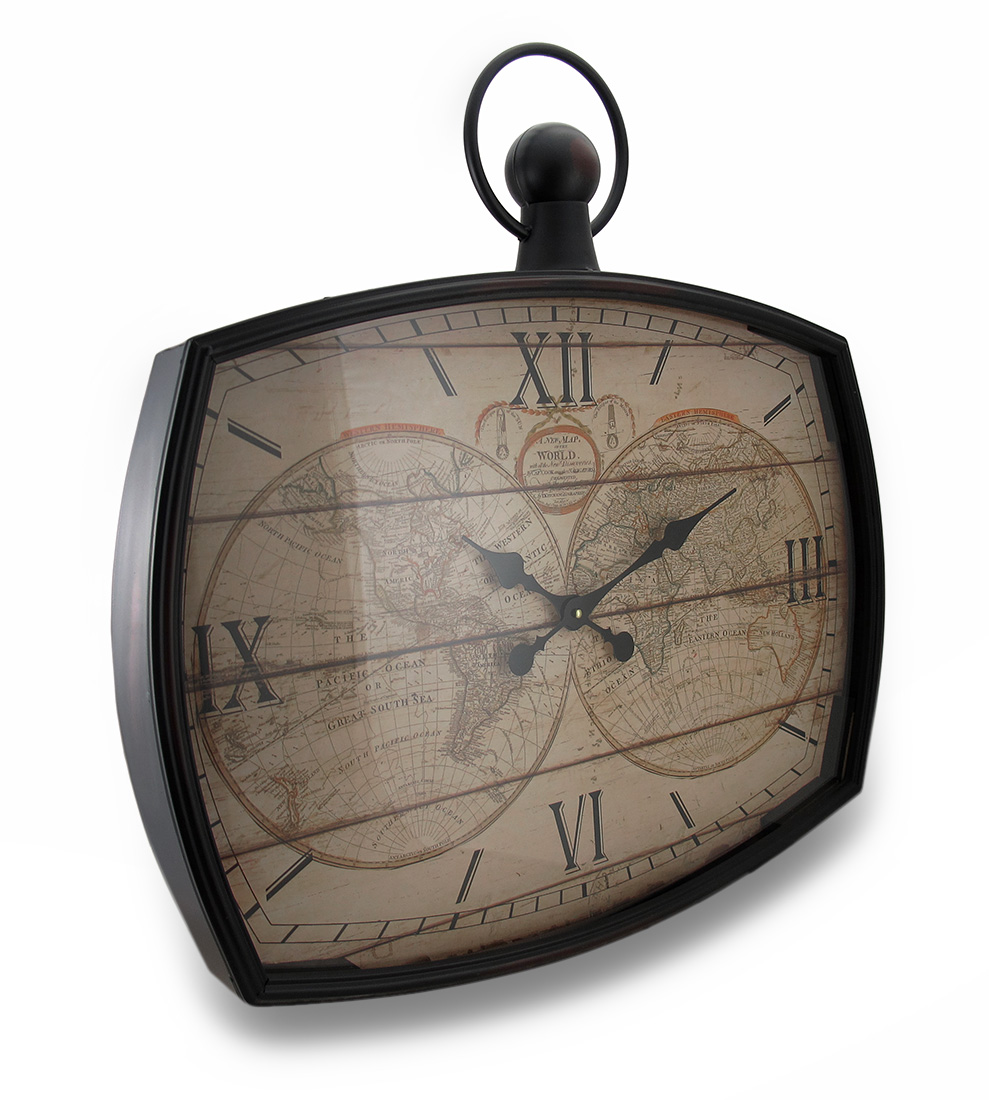 Old World Map Vintage Style Metal/Glass Wall Clock 26 in.