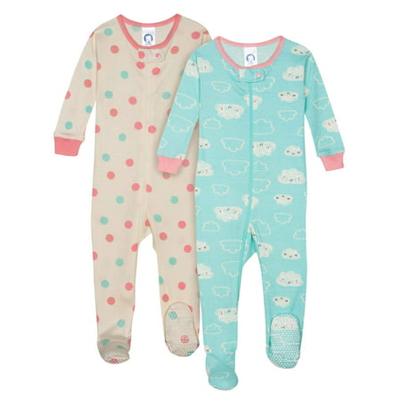Organic Cotton Unionsuit Pajamas, 2pk (Baby - Baby Girl Holiday Pajamas