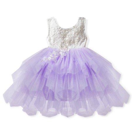 Girls Party Dress V Back Lace Tutu Dress Lavender - Lace Lavender Dress