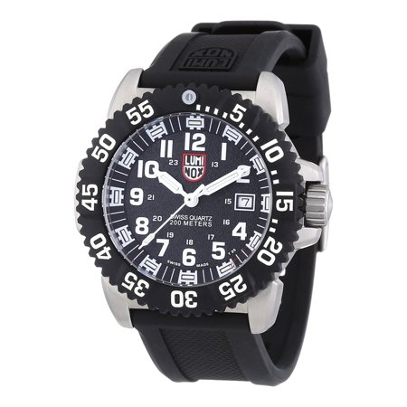 LUMINOX Sea Steel Colormark 3150 Series, Black Strap, Round Black Dial, Men's Watch A.3151
