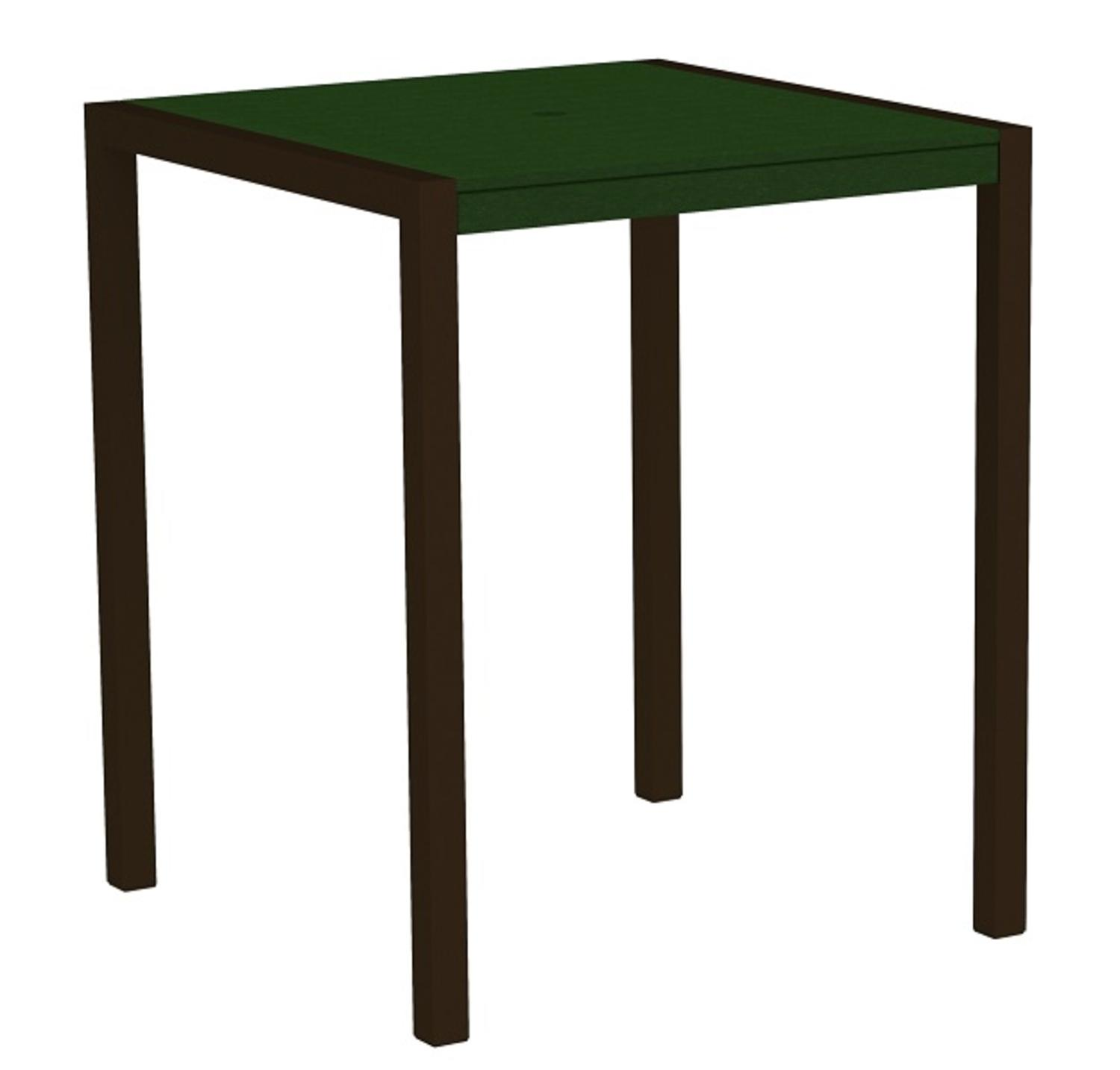 """42"""" Outdoor Recycled Earth-Friendly Bar Table - Green with Bronze Frame"""