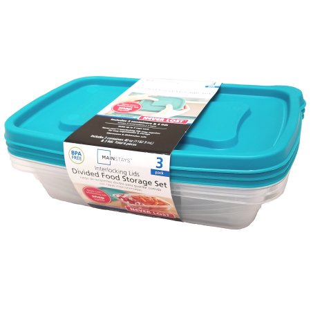 (4 Pack) Mainstays Never Lost 3-Piece Divided Plastic Food Storage Set, Blue (3 Section Divided Server)