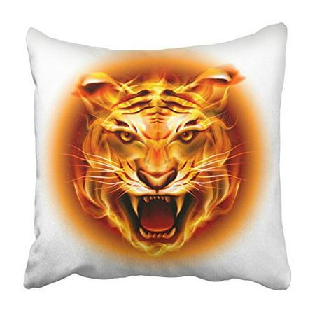 ARHOME Black Roar Head of Agressive Fire Tiger White Orange Blaze Circle Drawing Flame Pillowcase Cushion Cover 20x20 (Tigers Circle)