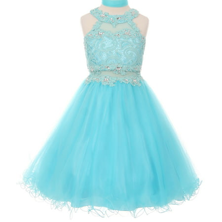 Little Girls Sparkle Rhinestones Halter Lace Junior Bridesmaid Pageant Flower Girl Dress Aqua 4 (Rhinestone Flower Girl Pageant Dress)