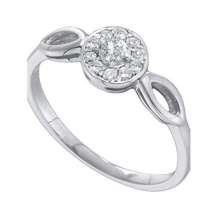 10kt White Gold Womens Round Diamond Solitaire Promise Bridal Ring 1/8 Cttw - image 1 de 1