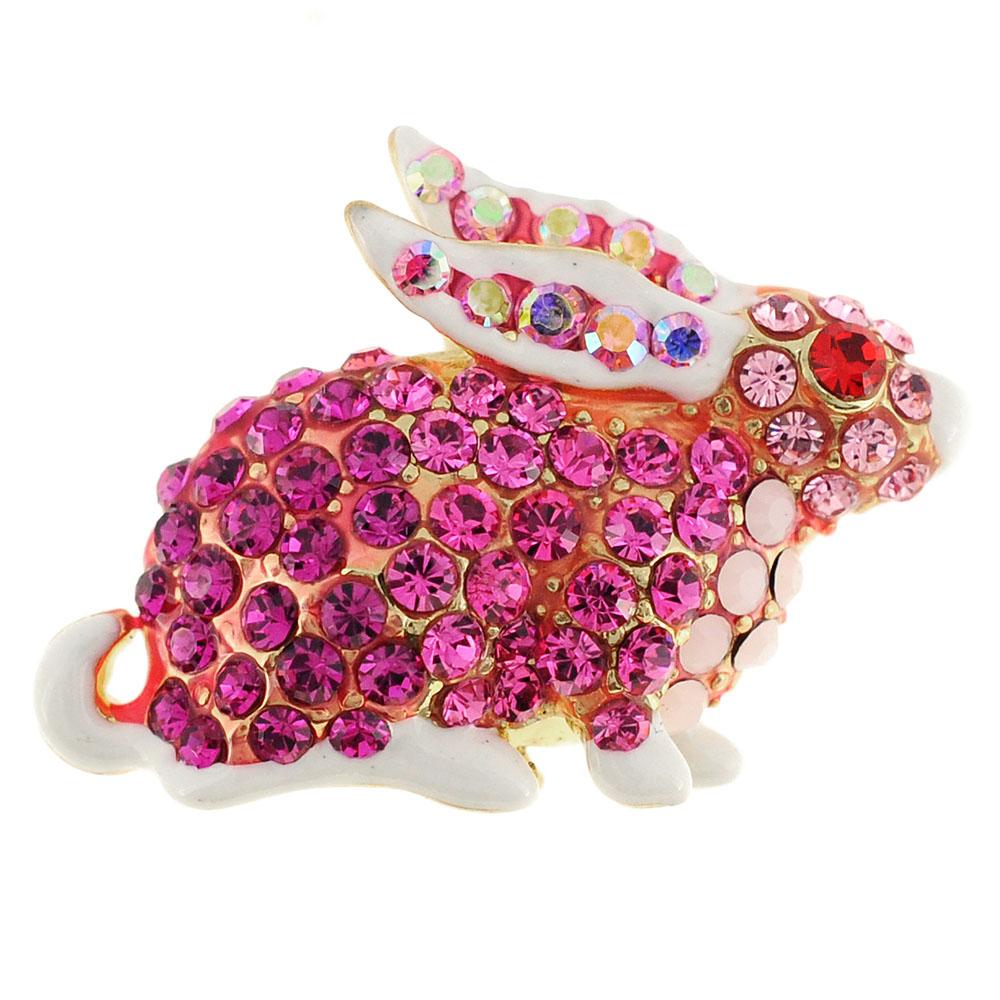 Pink Rabbit Swarovski Crystal Easter Pin Brooch by