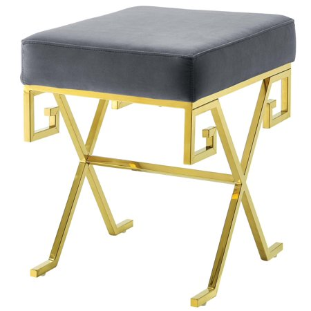 Modern Deco Contemporary Urban Design Living Room Lounge Club Lobby Accent Chair Bench, Velvet Fabric Metal Steel, Gold Gray