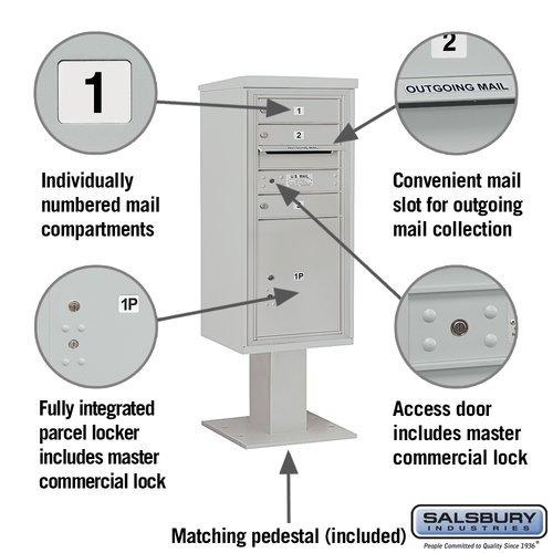 Salsbury Industries Pedestal Mounted 3 Units 5 Door Front Load 4c Horizontal Cluster Box Unit With 1 Parcel Locker Walmart Com Walmart Com