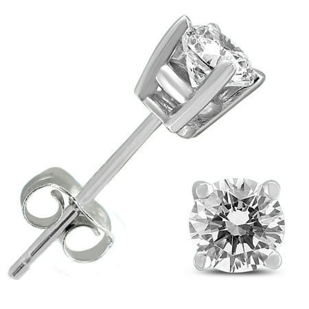 1/2 Carat TW Round Diamond Solitaire Stud Earrings in 14K White Gold I3 Solitaire Earrings