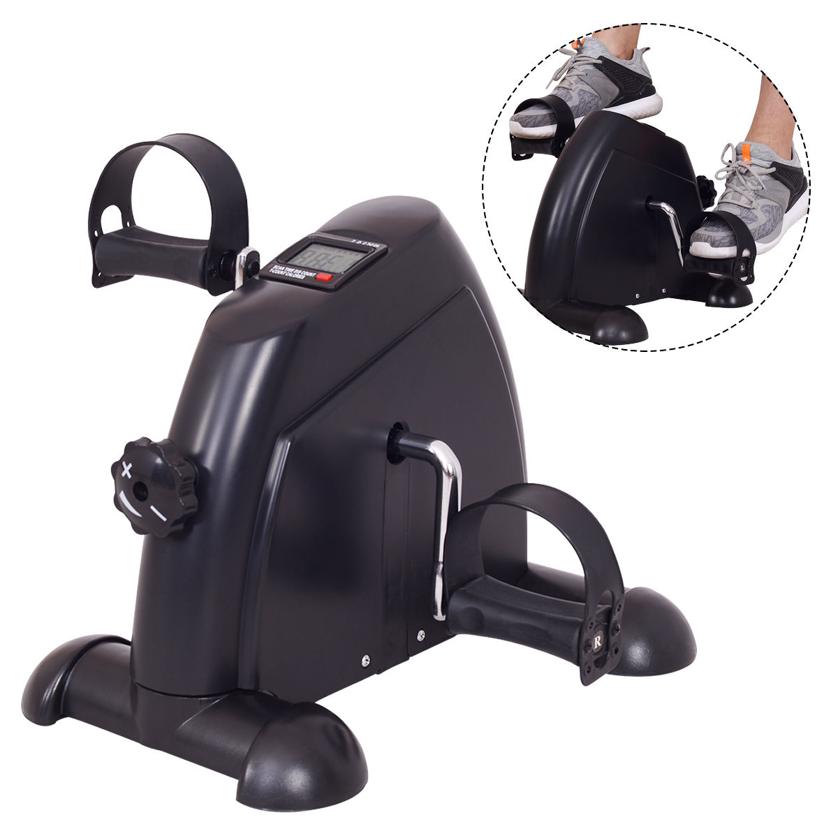 GHP Black Adjustable Resistance Stationary Mini Exercise Pedal Bike with LCD Display