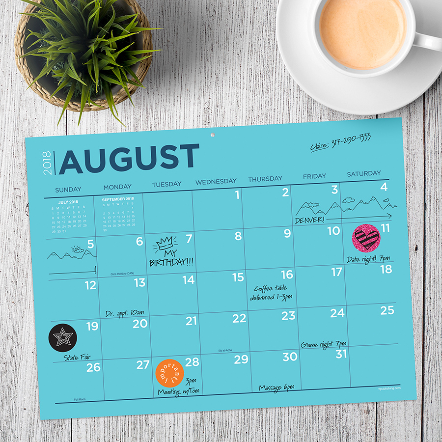 """2019 Color Collection July 2018 June 2019 Academic Year 12""""x9"""" Mini Desk Pad Calendar by TF Publishing"""