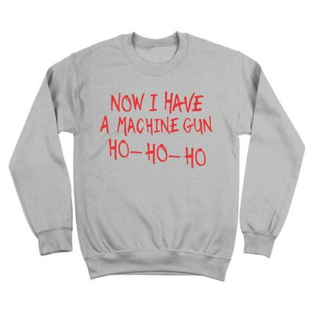 Machine Gun Ho Ho Ho Small Gray Crewneck Sweatshirt