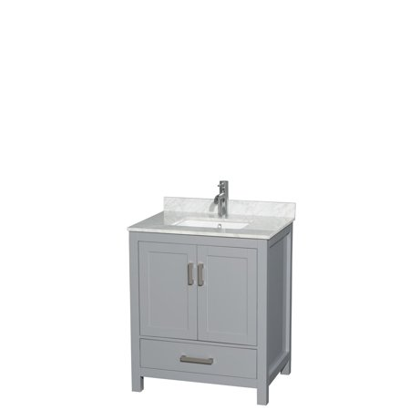 30 Inch Maple Top - Wyndham Collection Sheffield 30 inch Single Bathroom Vanity in Gray, White Carrera Marble Countertop, Undermount Square Sink, and No Mirror