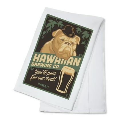Hawaii - Hawaiian Brewing Co - Bulldog - Retro Stout Beer Ad - Lantern Press Artwork (100% Cotton Kitchen Towel)