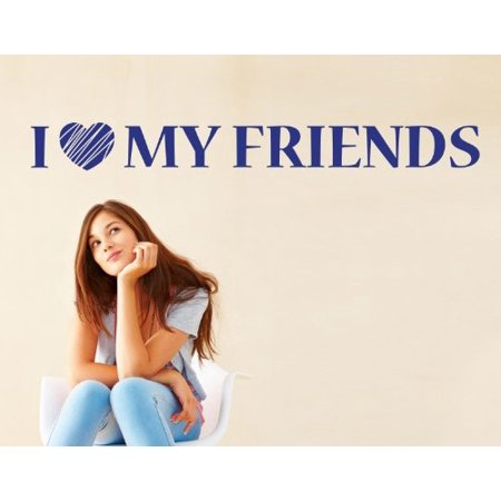 I Love my Friends Wall Decal - wall decal, sticker, mural vinyl art home decor quotes and sayings - 4385 - White, 16in x - Silver 16in Strand