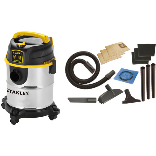 Stanley 5-Gallon 4 Peak Portable Stainless Steel Wet/Dry Vacuum Cleaner, SL18143A