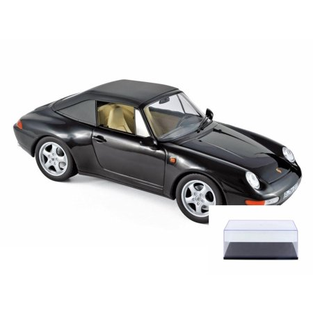 Diecast Car & Display Case Package - 1993 Porsche 911 Carrera Cabriolet Convertible, Black - Norev 187595 - 1/18 Scale Diecast Model Toy Car w/Display -