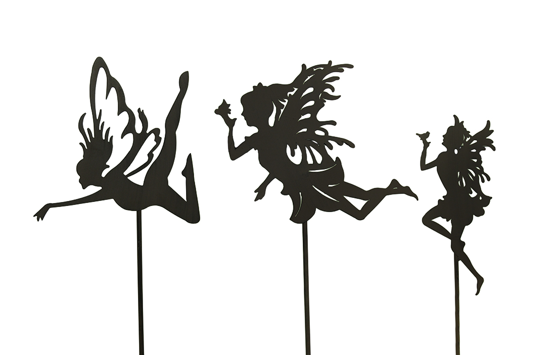 3 Pc. Rust Finish Fairy Silhouette Metal Garden Stake Set by B G SALES INC.