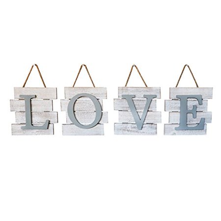 Barnyard Designs Love Wall Tile Sign, Distressed Rustic Farmhouse Wood Wall Decor for Home and Kitchen 32