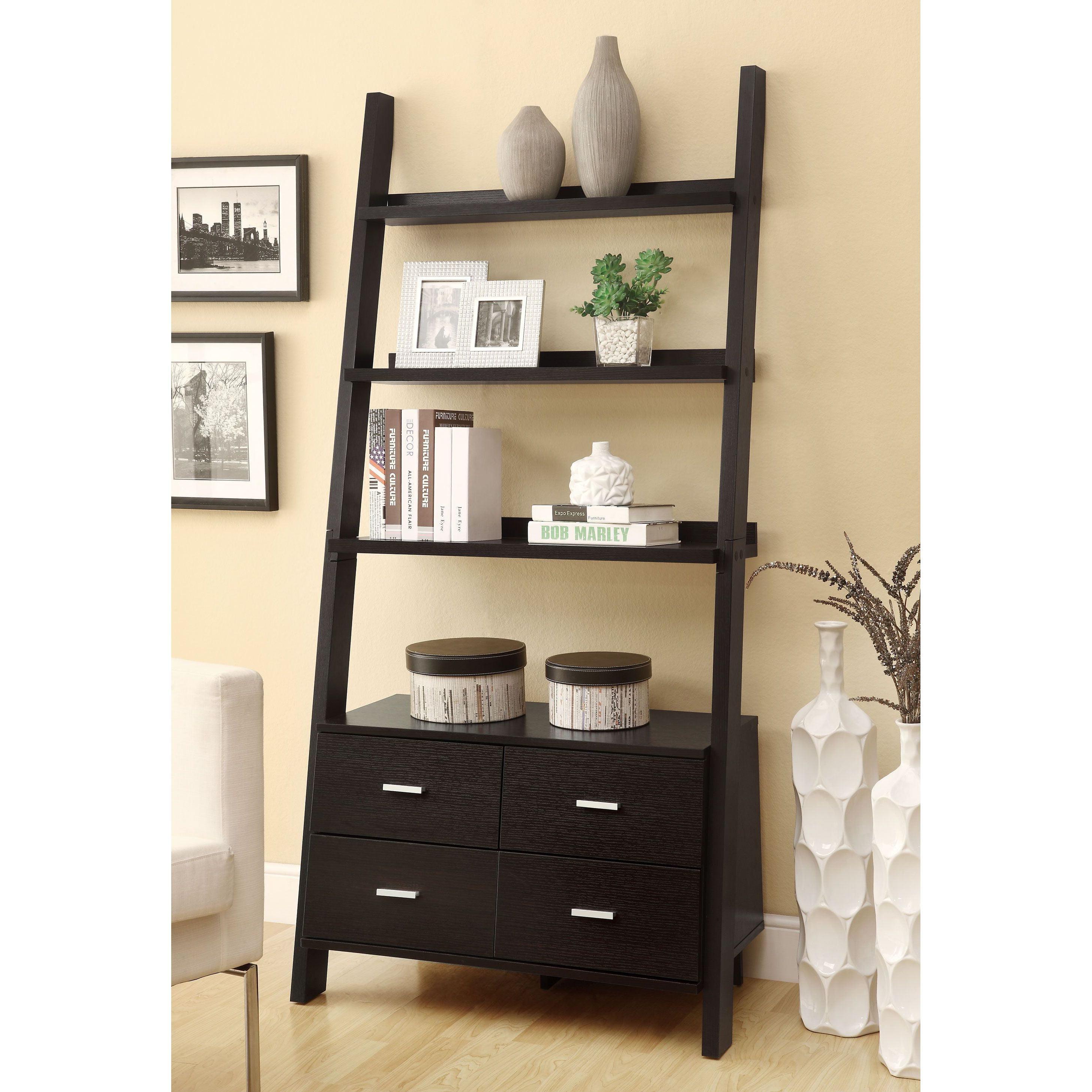 cfm product bookcase ladder master shelf trestle espresso bookcases sauder hayneedle wood jamocha leaning