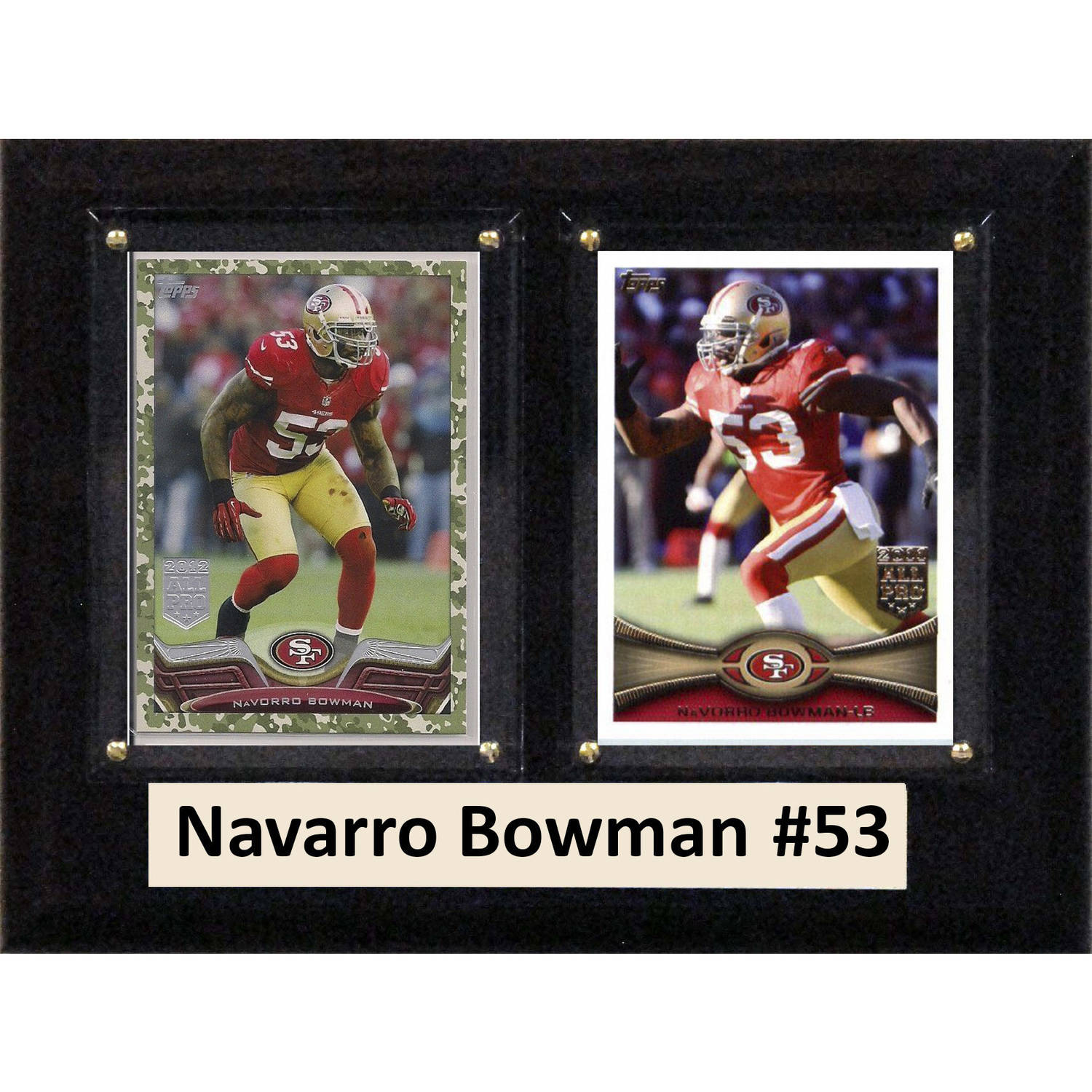 "C & I Collectables NFL 6"" x 8"" Navarro Bowman San Francisco 49ers Two-Card Plaque"