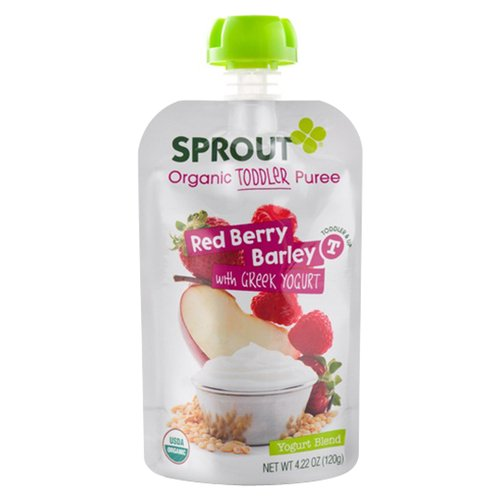 Sprout Red Berry Barley with Greek Yogurt Organic Toddler Puree, 4.22 oz