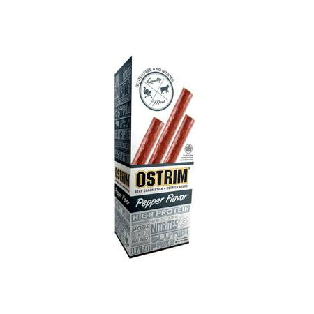 Ostrim Beef & Ostrich Snack Stick, Pepper, Pack of 10, 1.5 oz